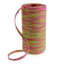 Raffia ribbon bicolour apple green-pink 200m