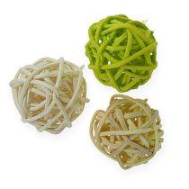 Rattan ball light green, pale green, bleached 72pcs