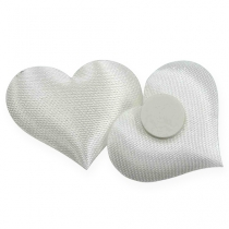 Scatter decoration fabric hearts white 28x32mm 100p