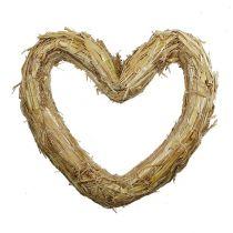 Straw mat heart 33x34cm