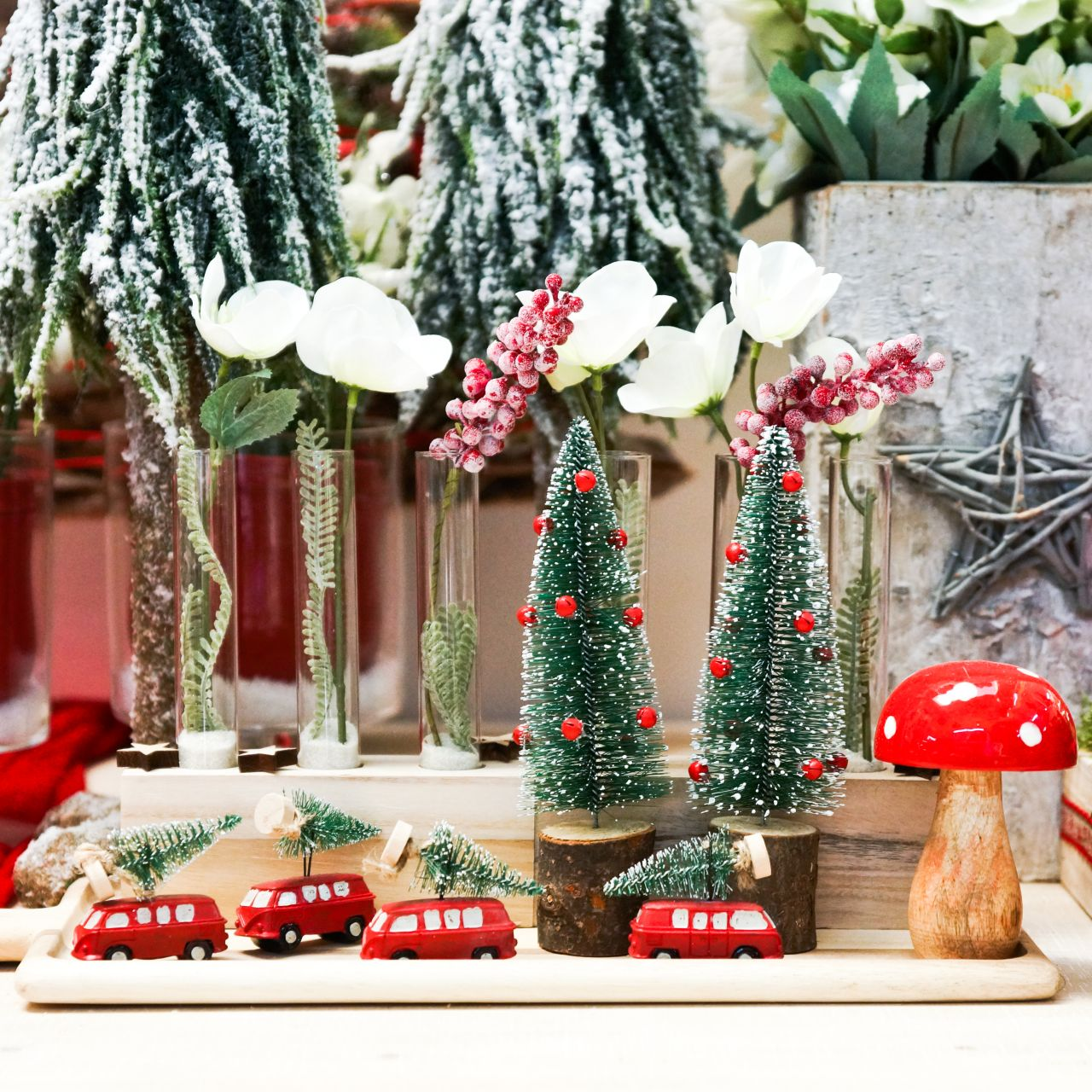 Christmas tree decorations car with fir red / green 2pcs