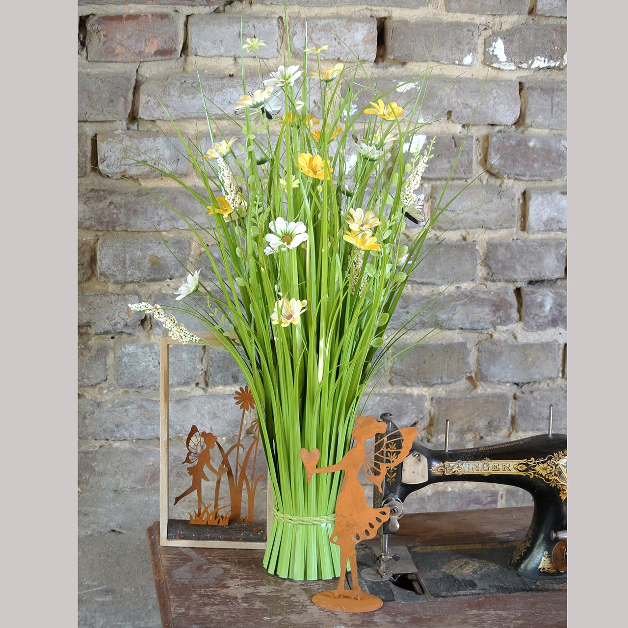 Bunch of grass with flowers and butterflies orange 70cm