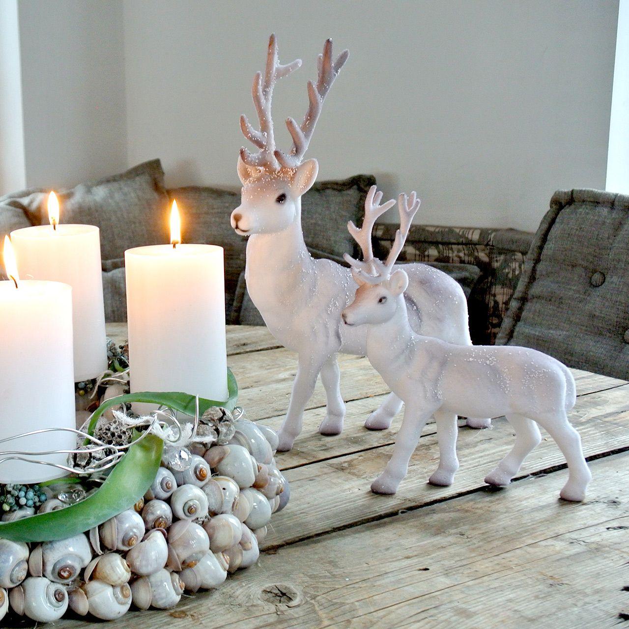 Deco deer flocked / snowed 27.5cm 2pcs