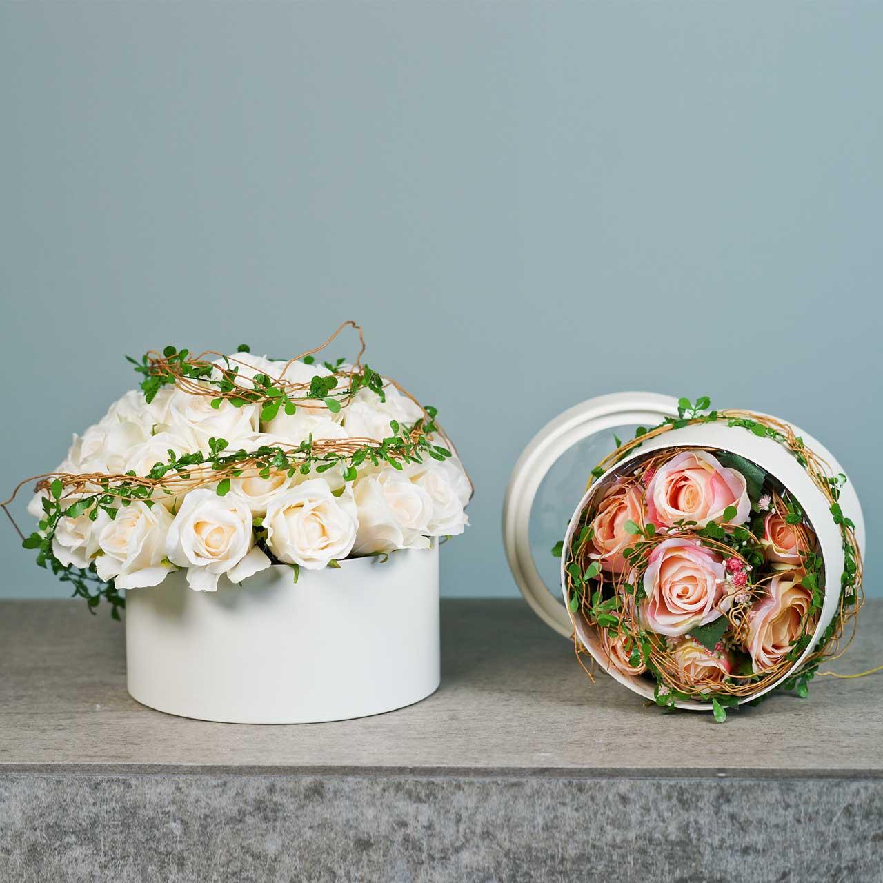 Flower box round cardboard cream Ø15.5 / 19cm set of 2