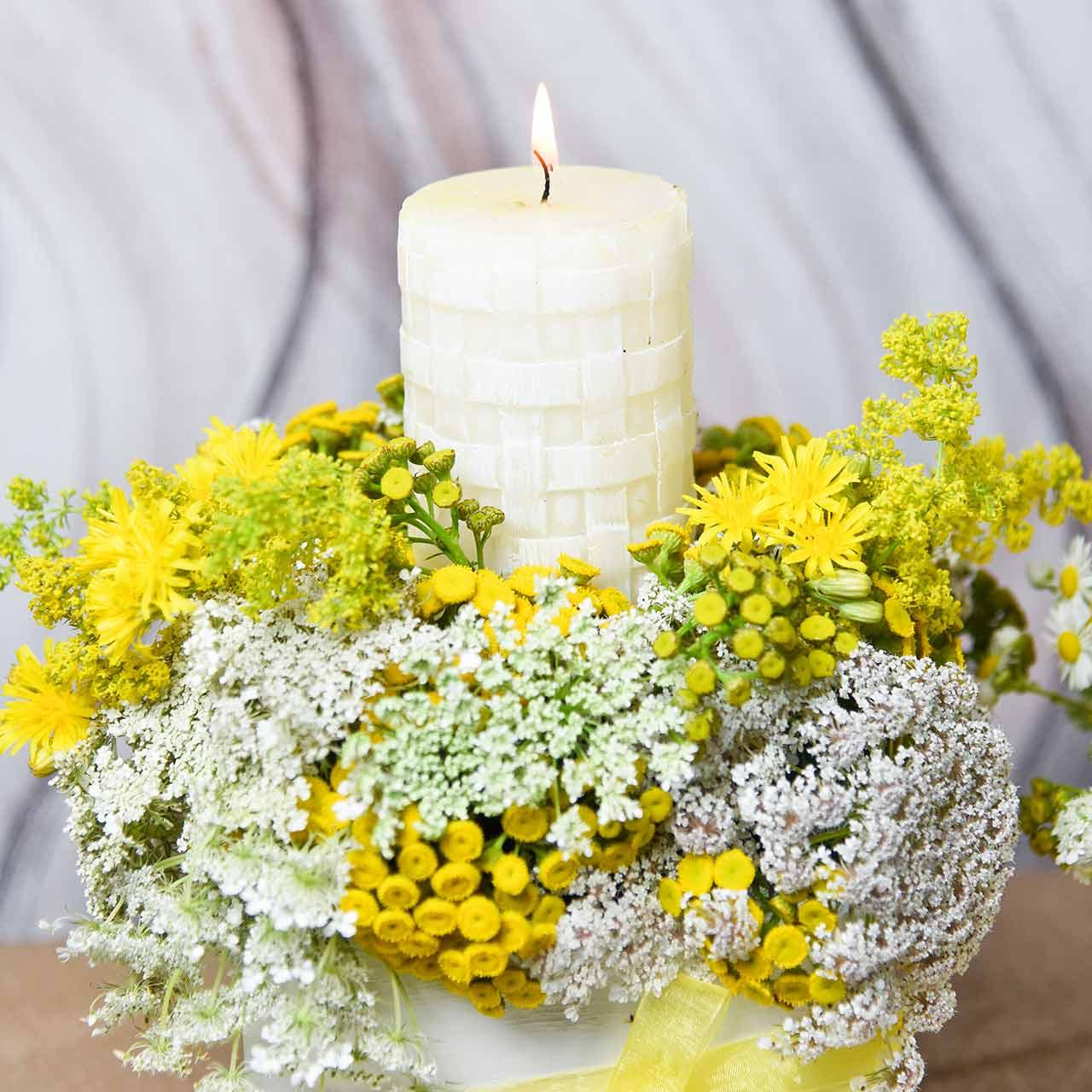 Rustic candles, white wax candles, pillar candles basket pattern 110/65 2pcs