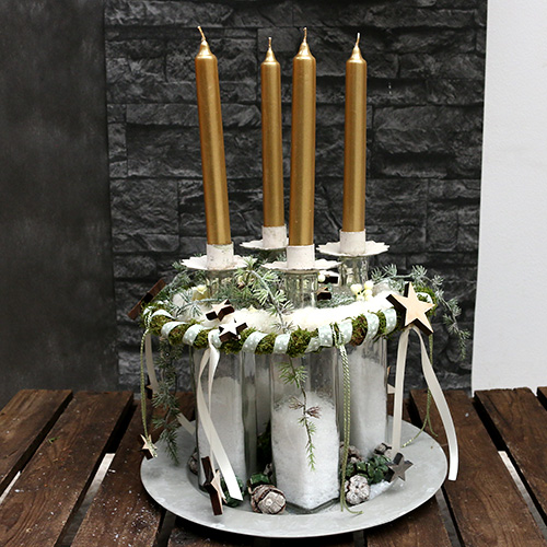 Candle holder for tealight cream Ø9cm H9cm