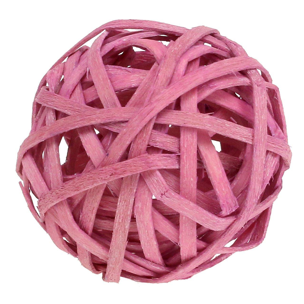 Rattan ball pink Ø4cm 12pcs