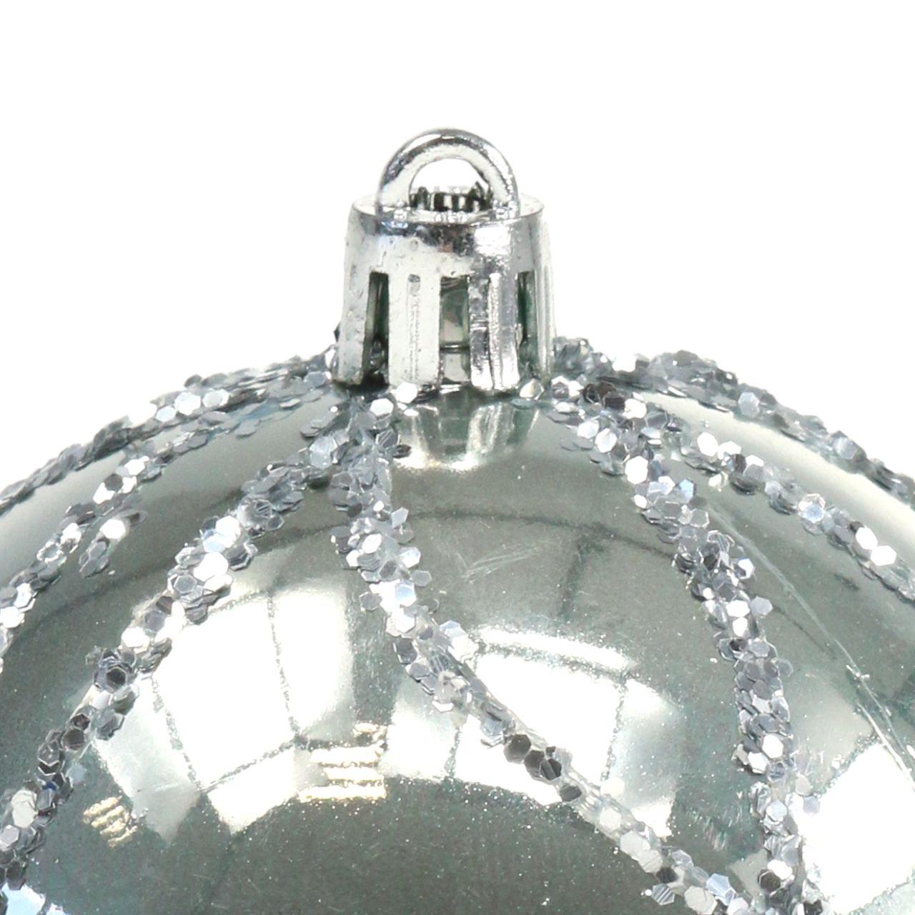Christmas ball plastic silver Ø8cm 2pcs