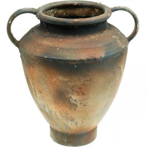 Amphora antique look for planting vase metal garden decoration H29cm