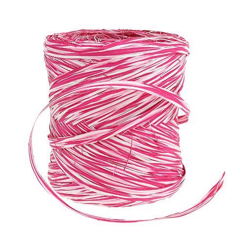Bast as a gift ribbon pink-white 200m