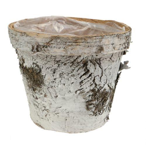 Birch pot white washed Ø13cm H11cm