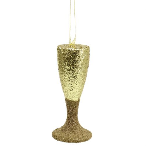 Hanger champagne glass light gold glitter 15cm New Years Eve and Christmas