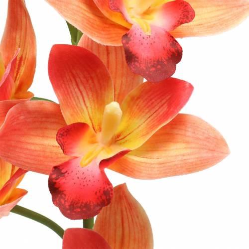 Orchid artificial flower Cymbidium Orange 74cm