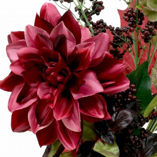 Artificial decorative bouquet with dahlia and berries lilac 45cm