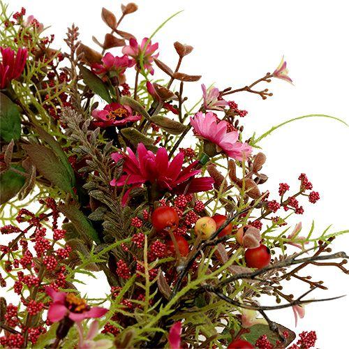 Decorative wreath with berries Ø25cm pink