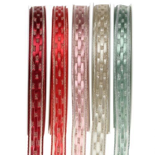 Decorative ribbon with wire edge 15mm 25m