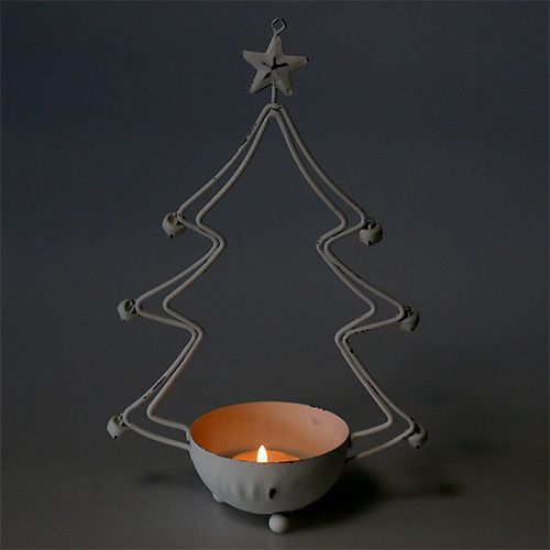 Decorative tree with bowl for tealight white 25cm 2pcs