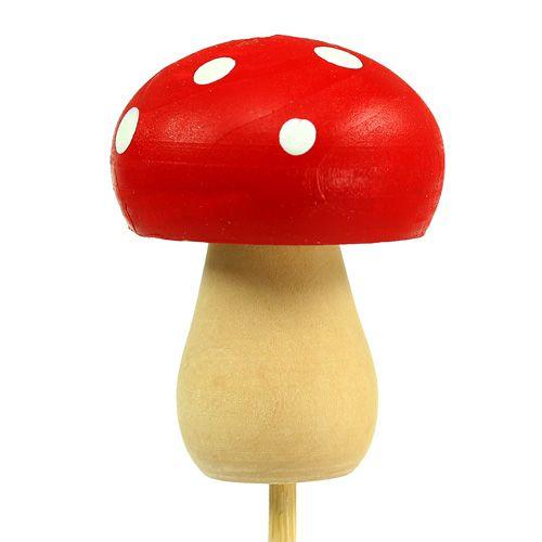 Decorative mushroom toadstool plug red 3.5cm L30cm 12pcs
