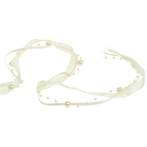 Deco ribbon with pearls cream 20mm 5m