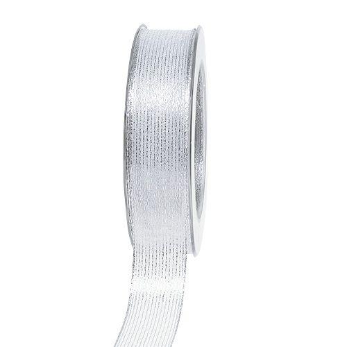 Decorative ribbon with lurex stripes silver 25mm 20m