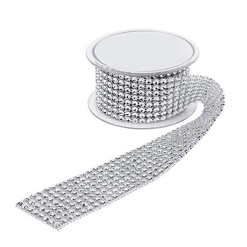 Decorative ribbon with street effect silver 40mm 2m