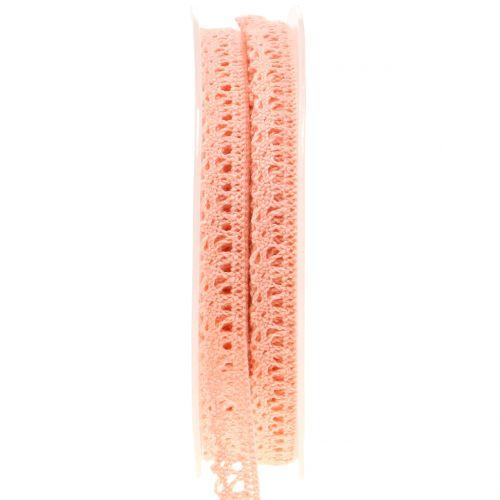 Decorative ribbon crochet lace salmon 12mm 20m