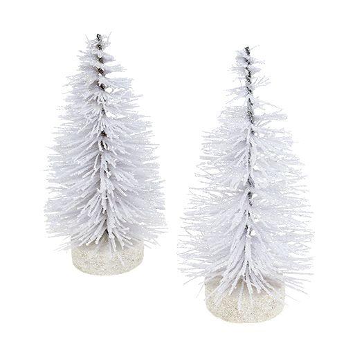 Decorative tree glittered white H14cm 4pcs