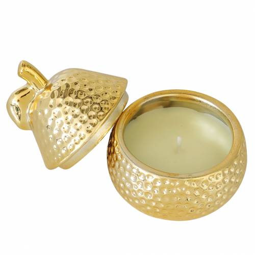 """Scented candle """"Magnolia & Pear Blossom"""" in a pear jewelry box gold Ø7.4cm H9cm"""