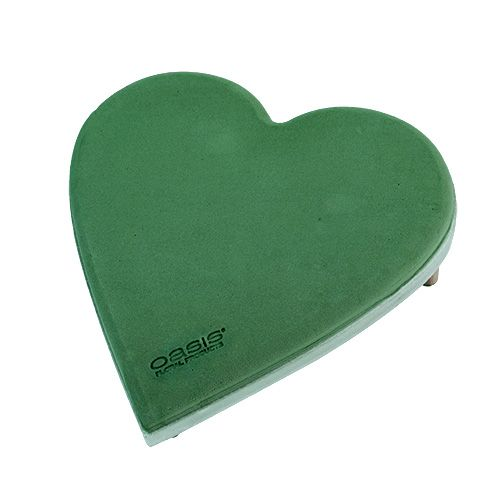 Floral foam heart with click system plug size green 20cm 2pcs