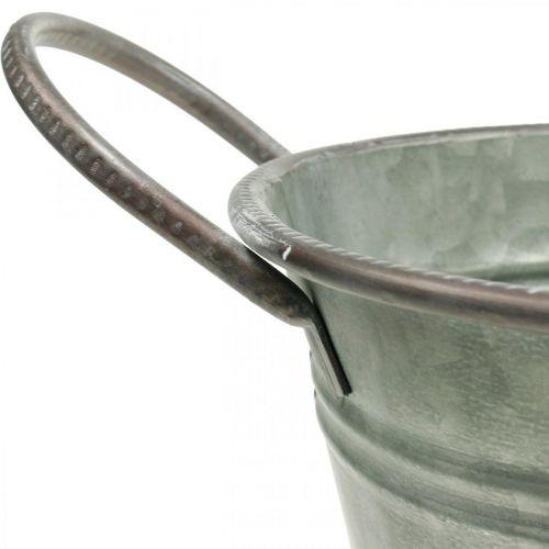 Planter tub, metal container with handles, decorative bowl L32cm H24cm