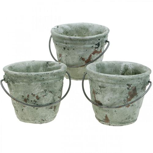 Bucket for planting, ceramic vessel, bucket decoration antique look Ø11.5cm H10.5cm 3pcs