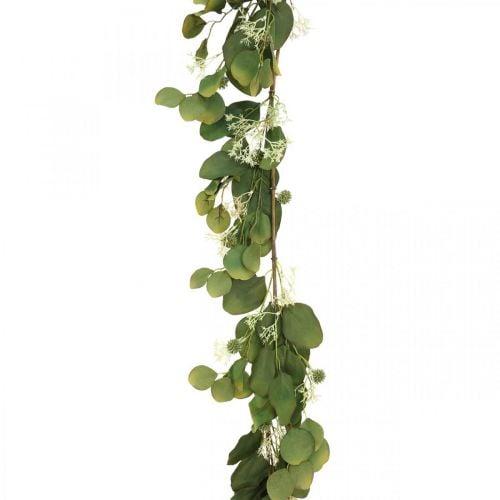 Artificial eucalyptus garland with thistles autumn decoration 150cm