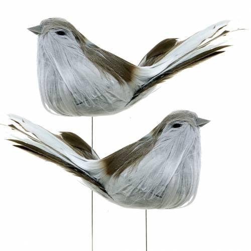 Feather bird on wire gray 12cm 4pcs