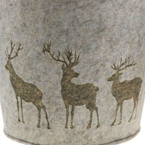 Christmas decoration felt basket round deer planter 38cm / 30cm set of 2