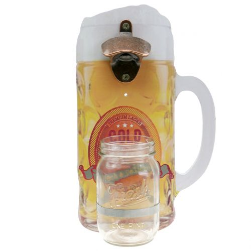 Wall bottle opener with collecting container 30cm x 18cm
