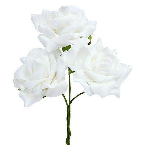 Foam rose Ø 7.5cm white 18pcs