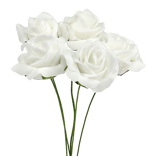 Foam Rose Ø4.5cm white 36pcs