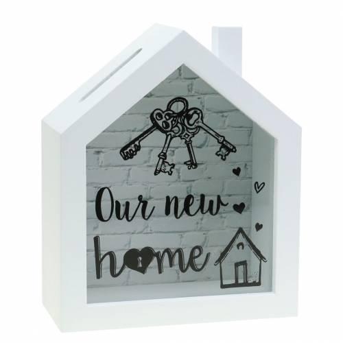"Savings box ""Our New Home"" wood glass white 15x7cm H18cm"