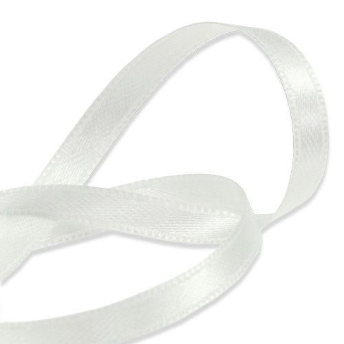 Gift and decoration ribbon white 6mm 50m