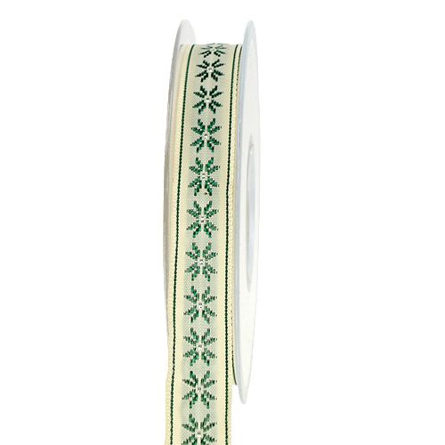 Gift ribbon with pattern cream 15mm 20m