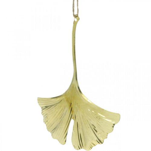 Ginkgo leaf pendant, Advent decoration, metal decoration for autumn Golden L12cm 12pcs