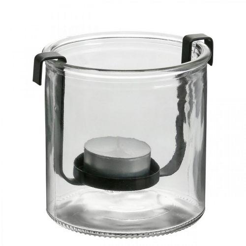 Lantern glass with tealight holder black metal Ø9 × H10cm