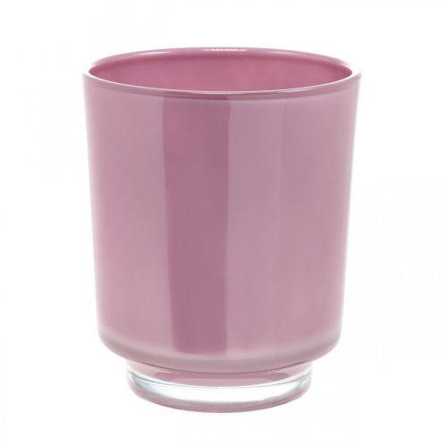 Glass planter, orchid pot, decorative vase pink H16cm Ø13.4cm