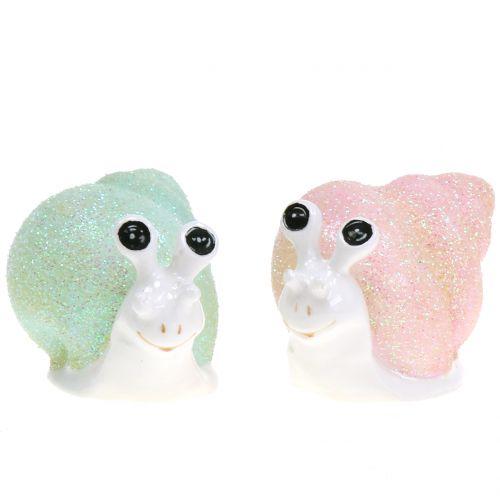 Dekofigur snail glitter mint / pink 8cm 6pcs
