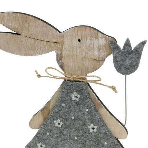 Dekofigur wooden bunny felt 30 / 31.5cm 2pcs