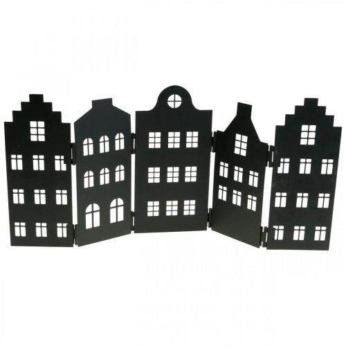 Deco house metal black stand city silhouette 40 × 18cm