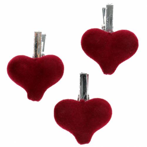 Decorative heart with clip red 3cm 8pcs