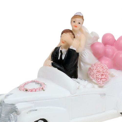 Wedding figure bridal couple in the car 16cm
