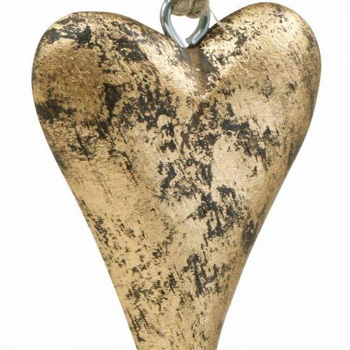 Wooden heart gold effect, Valentine's Day, wedding decoration 10 × 7cm