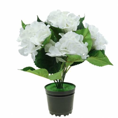 Hydrangea in a flower pot Artificial White 35cm